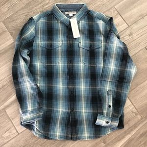 Outerknown blanket shirt L blue white plaid NWT